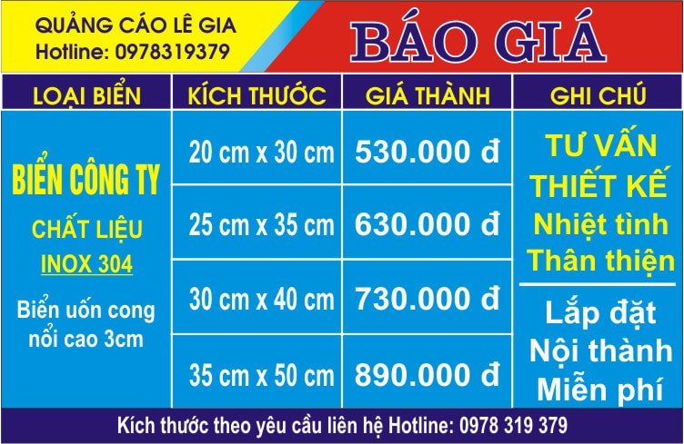 báo giá Biển công ty inox cong
